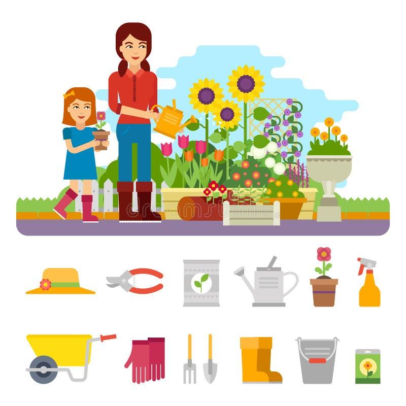 Kvinnaträdgårdsmästaren planterar en blomma och tar omsorg av blommaträdgården Arbeta i trädgården den plana illustrationen för v royaltyfri illustrationer
