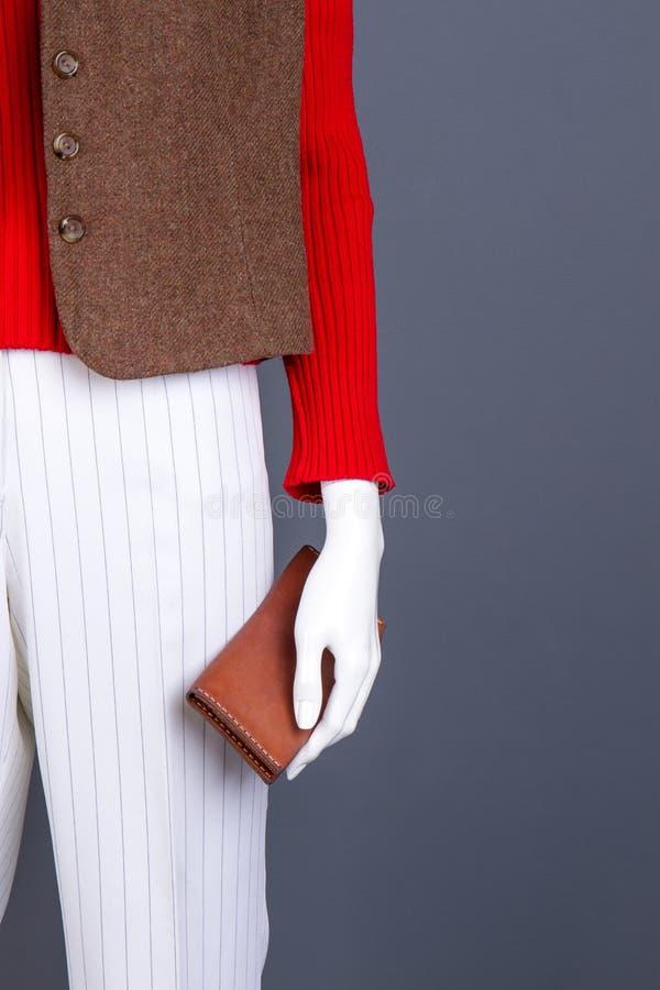 Kvinnatröja, brun waistcoat och plånbok royaltyfri bild