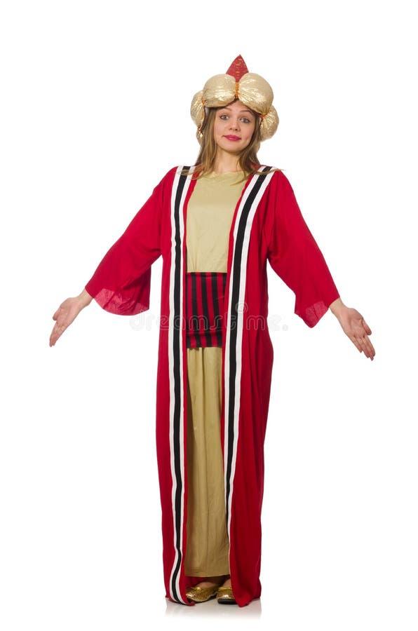 Kvinnatrollkarlen i röda kläder som isoleras på vit royaltyfria bilder