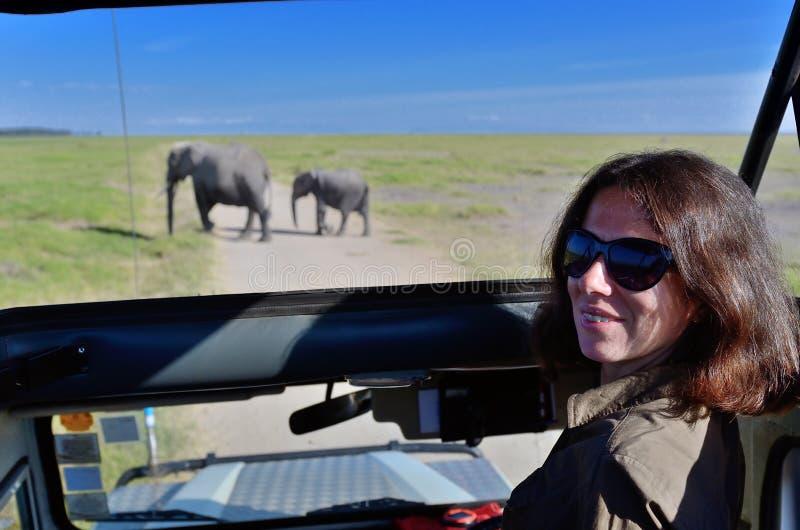 Kvinnaturist på safari i Afrika, billopp i Kenya, elefanter i savann royaltyfri fotografi