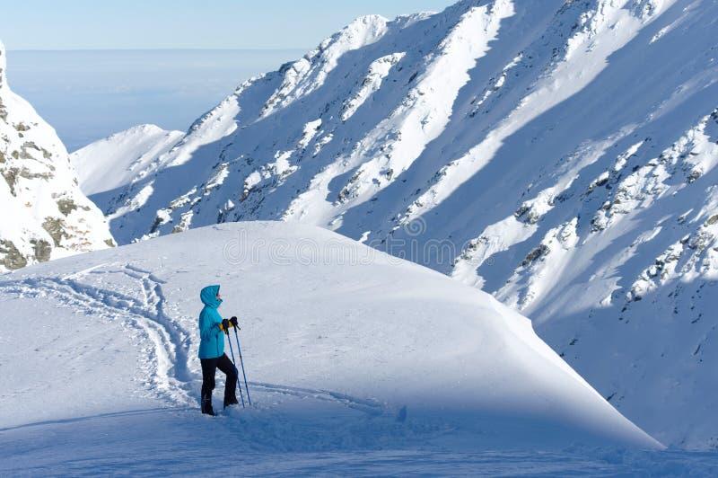 Kvinnaturist som ser den trevliga vintersikten i en solig kall dag arkivbild