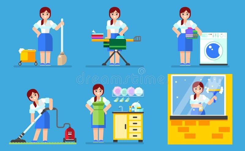 Kvinnatvagning och lokalvård Hushållserieillustration stock illustrationer