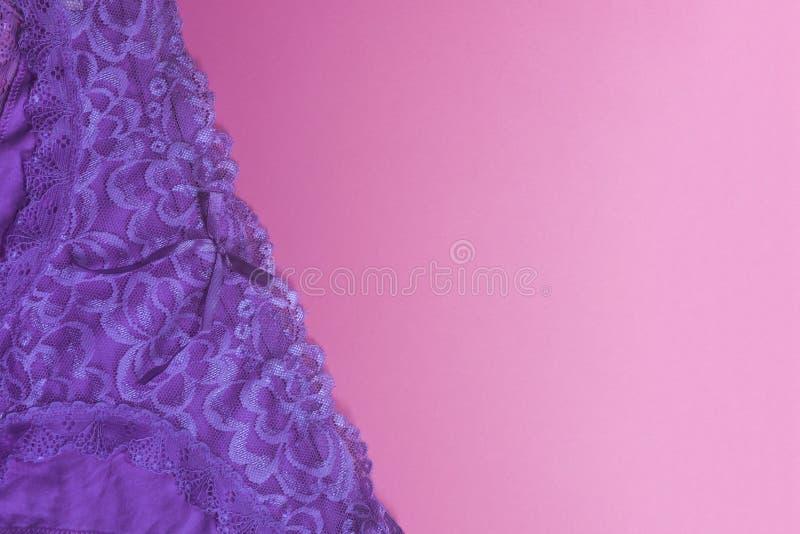 Kvinnaunderbyxorar på rosa färger Violett kvinnaunderkläder på den rosa bakgrunden fritt avst?nd royaltyfria bilder