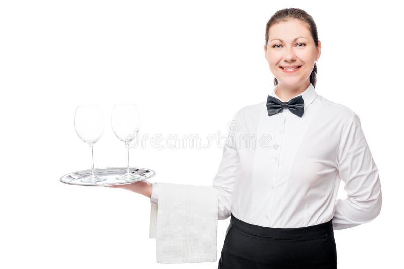 Kvinnauppassare med två tomma exponeringsglas på ett magasin royaltyfri fotografi