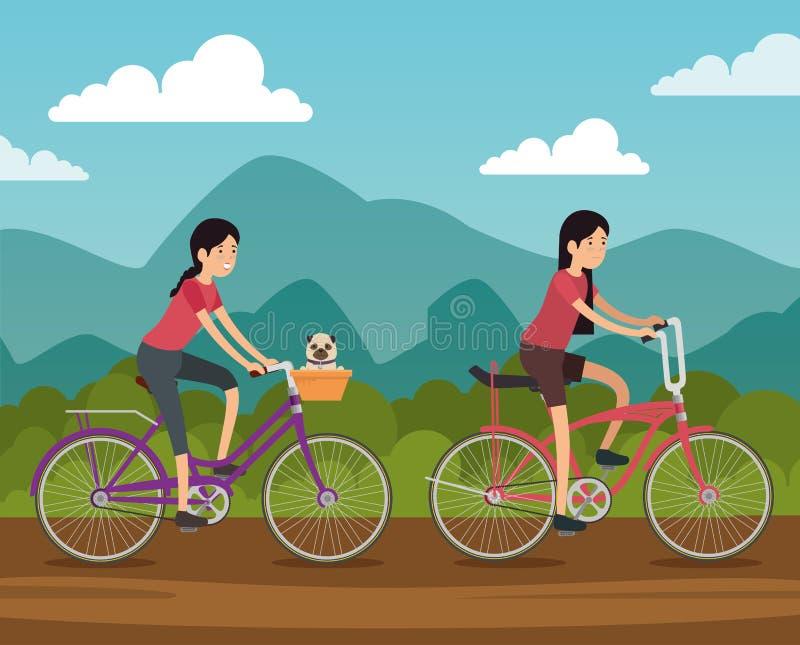 Kvinnavänner rider cykelmedlet för att göra övning vektor illustrationer