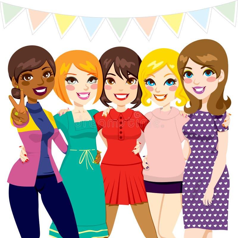 Kvinnavänparti royaltyfri illustrationer
