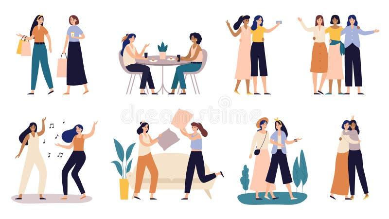 Kvinnav?nner Flickvänner spenderar tid tillsammans och att gå med vännen, och unga flickor kudde att slåss vektorillustrationen vektor illustrationer