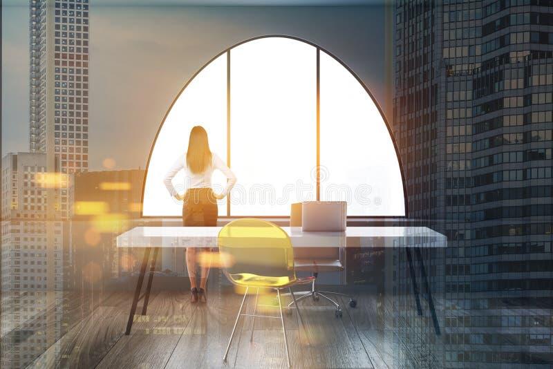 Kvinnavd i företagskontoret, cityscapedubblett stock illustrationer