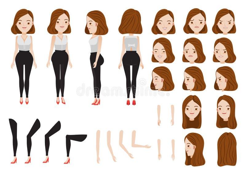 Kvinnavektor royaltyfri illustrationer