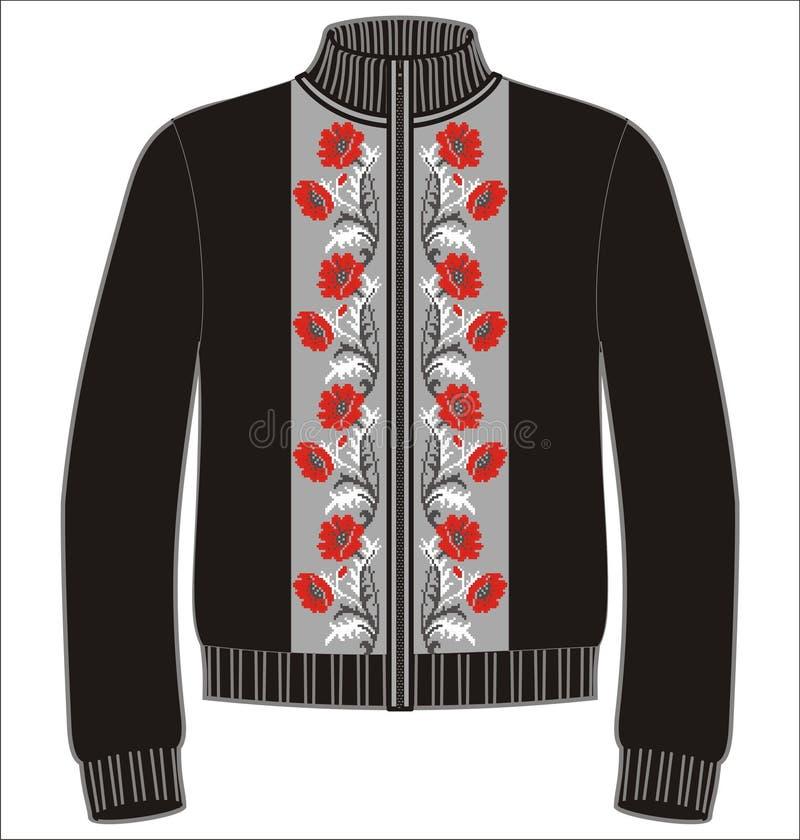 Kvinnavintern stack röda koftatröjavallmo, tröja Blommamodell för att sticka och broderi royaltyfri illustrationer