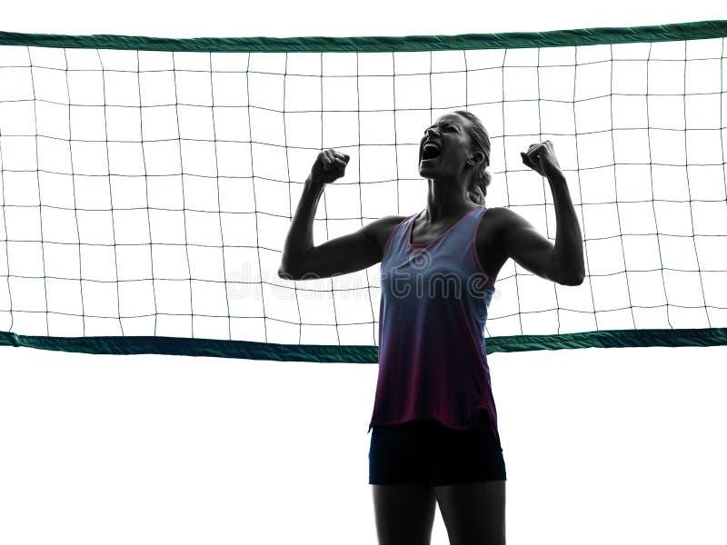 Kvinnavolleybollspelare isolerade konturn royaltyfria bilder