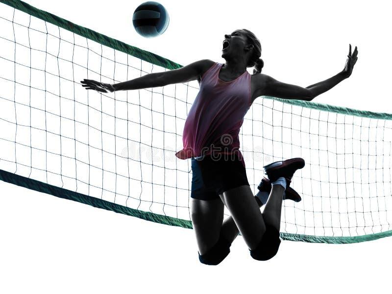 Kvinnavolleybollspelare isolerade konturn arkivbilder
