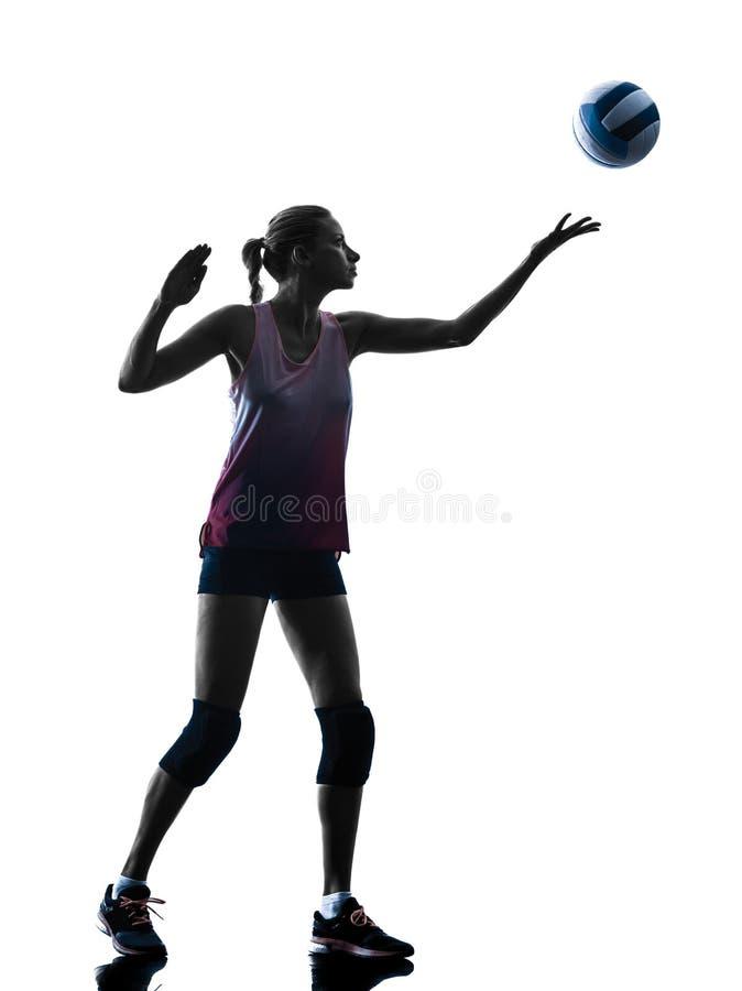 Kvinnavolleybollspelare isolerade konturn royaltyfri fotografi