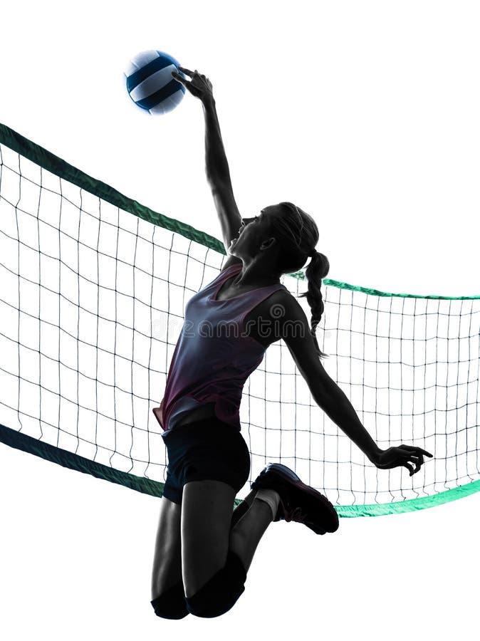 Kvinnavolleybollspelare isolerade konturn royaltyfri foto