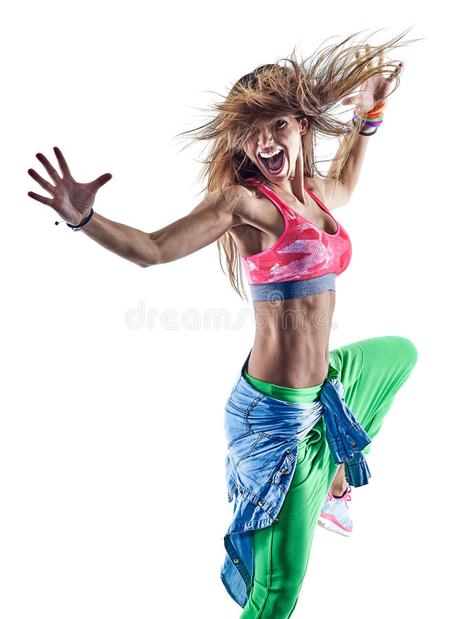 Kvinnazumbadansare som dansar kondition som övar excercisesisolat fotografering för bildbyråer