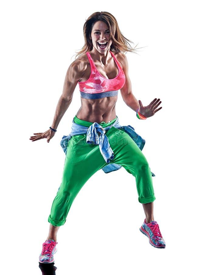 Kvinnazumbadansare som dansar kondition som övar excercisesisolat arkivbilder