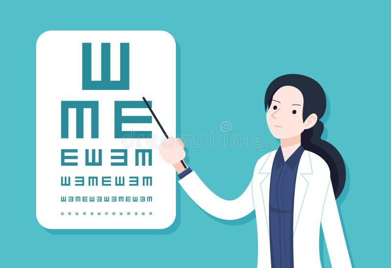 Kvinnlig ögondoktor testing2 stock illustrationer