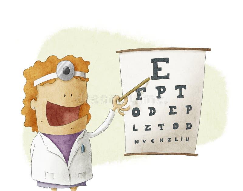Kvinnlig ögonläkaredoktor som pekar på ett synförmågaprovdiagram vektor illustrationer