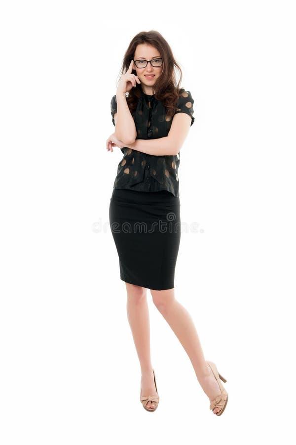 Kvinnlig affärsidé mening sexigt säker chef för affär Kvinnaglasögon attraktiv lärare eller föreläsare arkivfoto