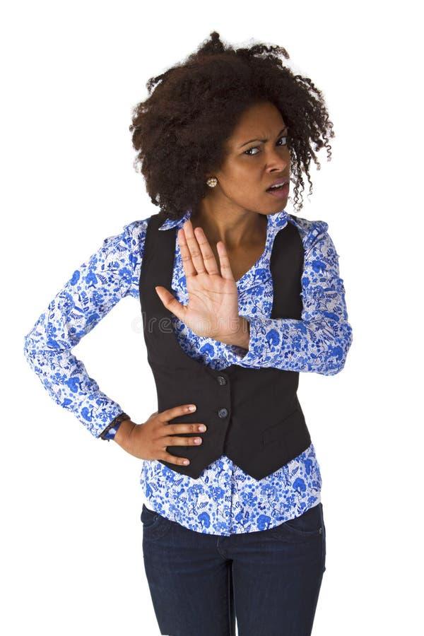 Kvinnlig afro- amerikannågot att säga INTE arkivbild