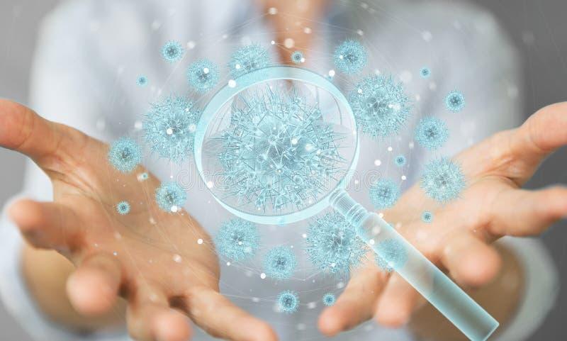 Kvinnlig analys av holografisk cellprojektion genom förstoring av 3D-rendering av glas royaltyfria bilder