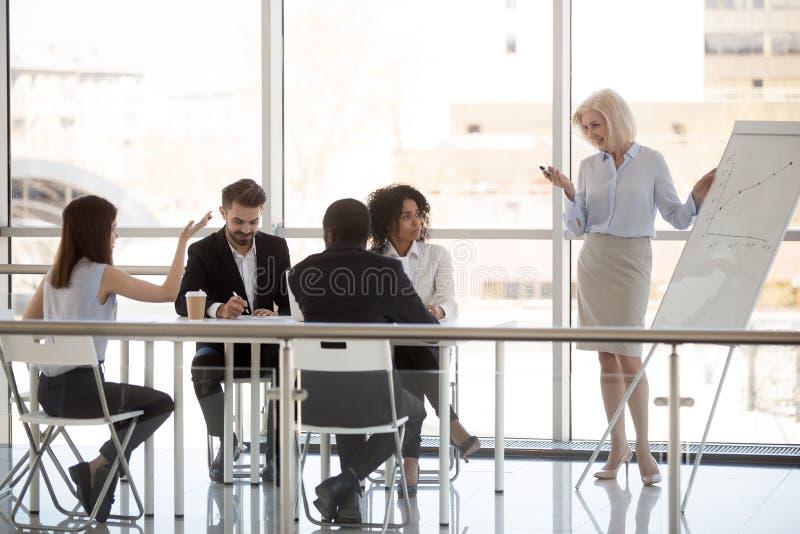 Kvinnlig anställd frågar fråga till den medelåldersa lagledaren på företagsmötet royaltyfria foton