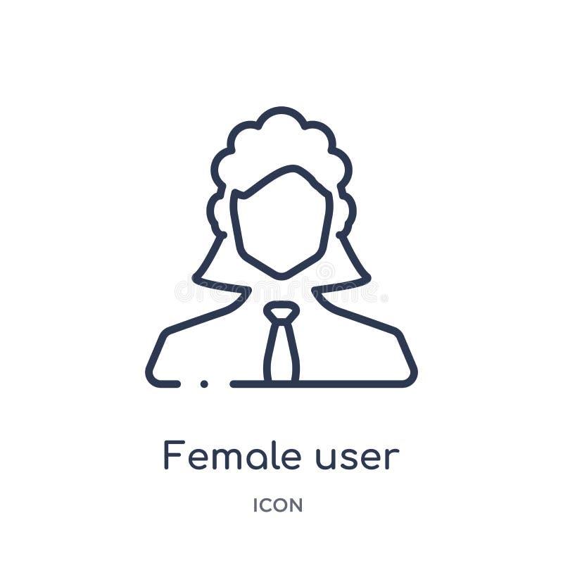 Kvinnlig användareledningsymbol från folköversiktssamling Tunn linje kvinnlig användareledningsymbol som isoleras på vit bak stock illustrationer