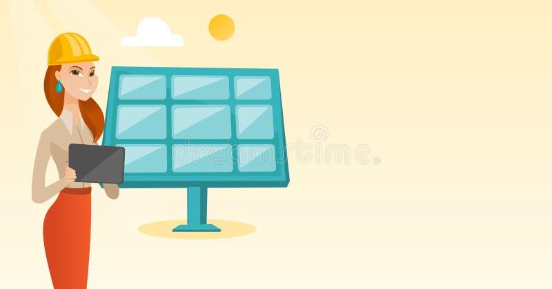 Kvinnlig arbetare av solenergiväxten vektor illustrationer