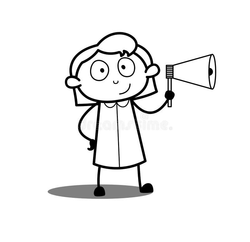 Kvinnlig arbetare för tecknad film som meddelar med megafon royaltyfri illustrationer