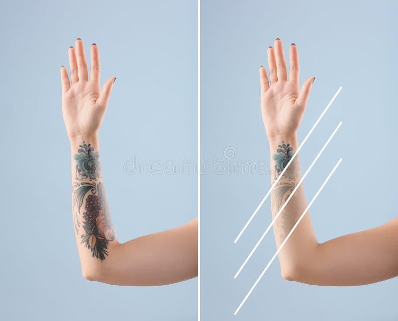 Kvinnlig arm med tatueringen arkivfoto