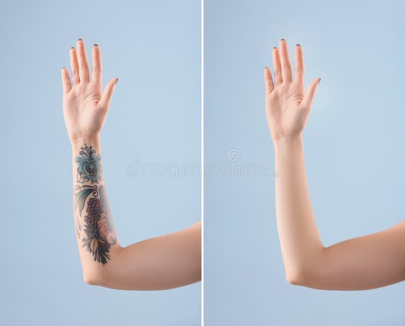 Kvinnlig arm med tatueringen fotografering för bildbyråer