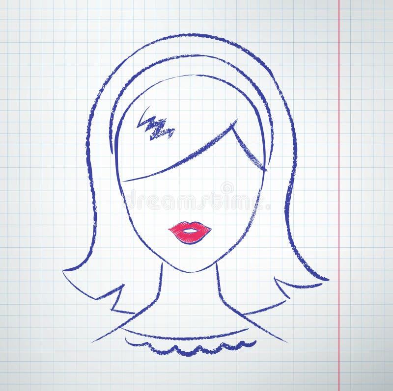 Kvinnlig avatar stock illustrationer