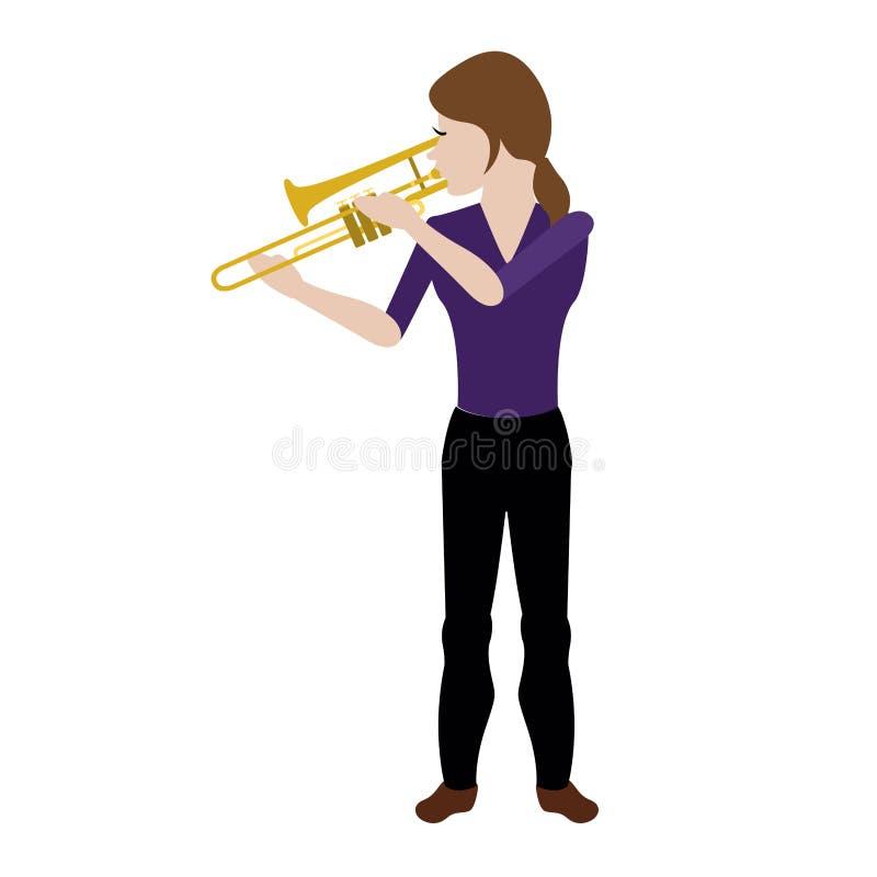 Kvinnlig avatar som spelar en trombon vektor illustrationer