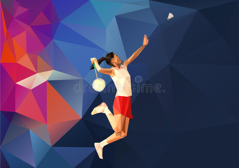 Kvinnlig badmintonspelare under dundersuccé stock illustrationer