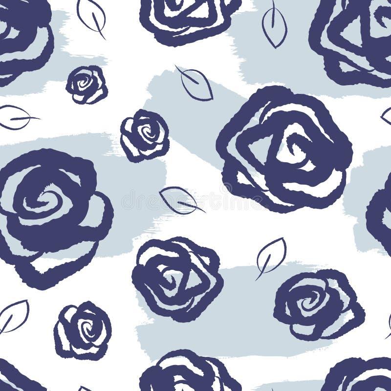 Kvinnlig blom- sömlös modell Vattenfärgfläckar, rosor och sidor som dras av handen vektor illustrationer