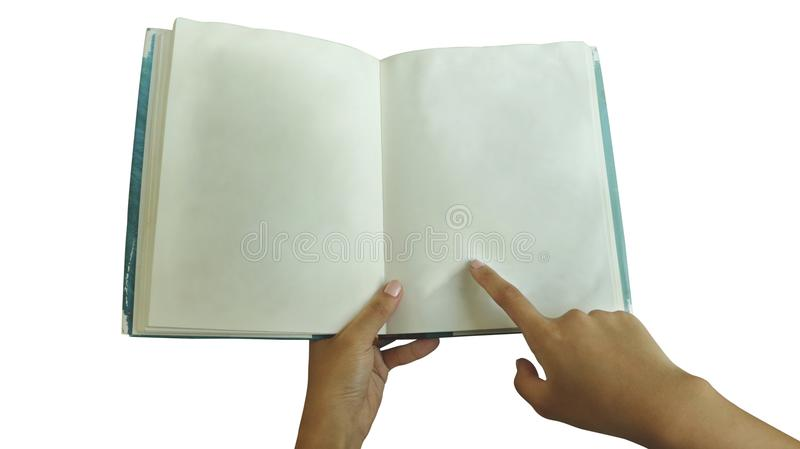 Kvinnlig bok för handinnehavmellanrum som pekar fingret på vit bakgrund - skrumpen pappers- texturblåttHardcover royaltyfri bild