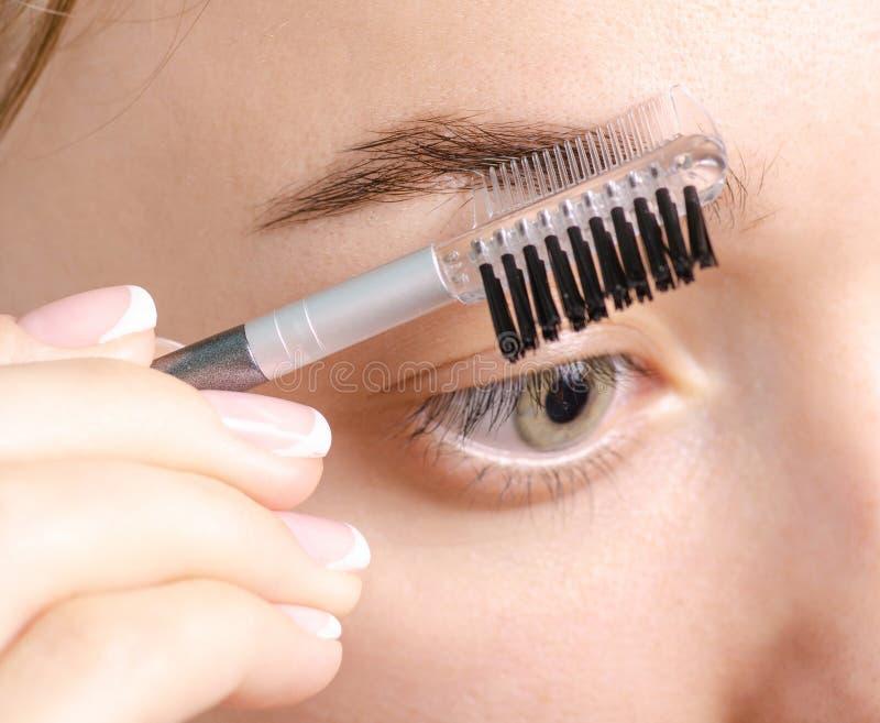 Kvinnlig borste för ögonbryn för ögonbrynformbrunt arkivfoto