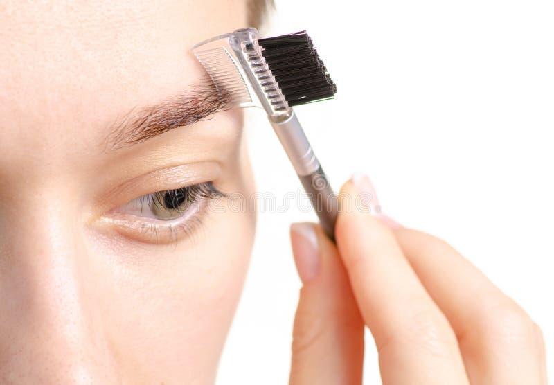 Kvinnlig borste för ögonbryn för ögonbrynformbrunt royaltyfri bild