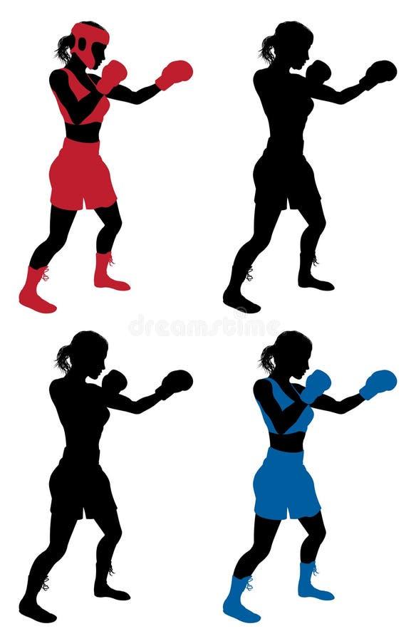 Kvinnlig boxareboxning vektor illustrationer