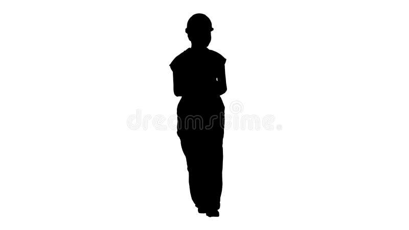 Kvinnlig byggnadsarbetare f?r kontur som r?knar pengar, medan g? stock illustrationer