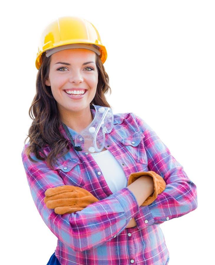 Kvinnlig byggnadsarbetare Wearing Gloves och hård hatt fotografering för bildbyråer