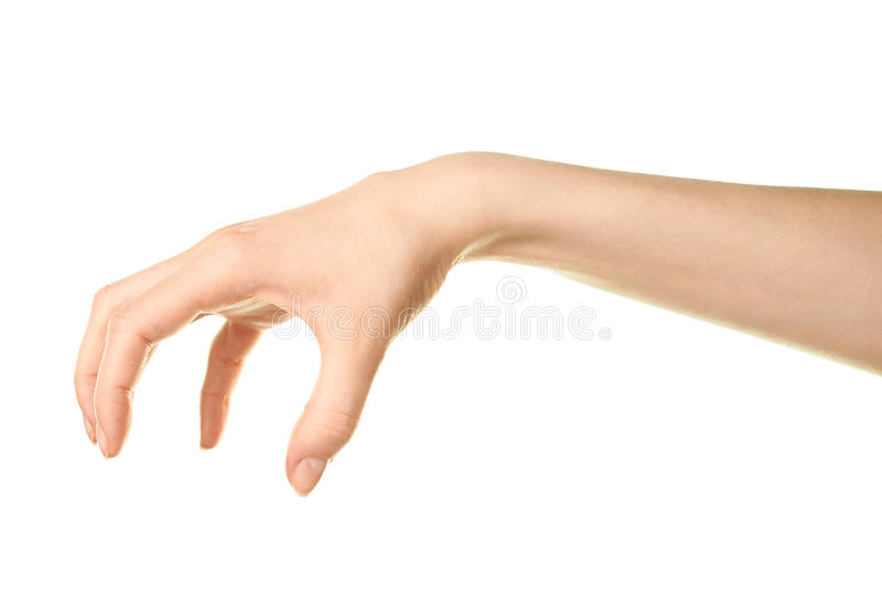 Kvinnlig caucasian isolerad handgest arkivfoton