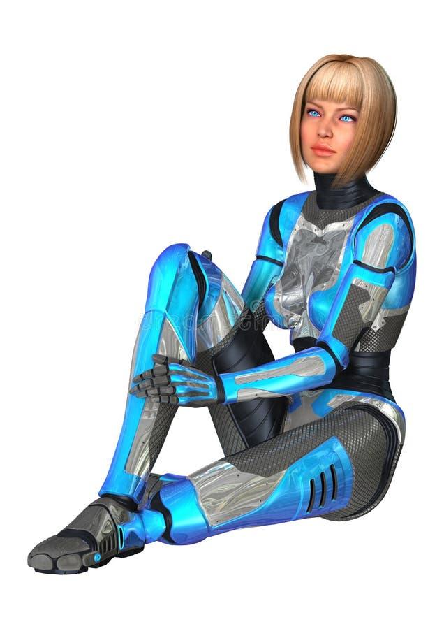 Kvinnlig Cyborg på vit arkivfoton