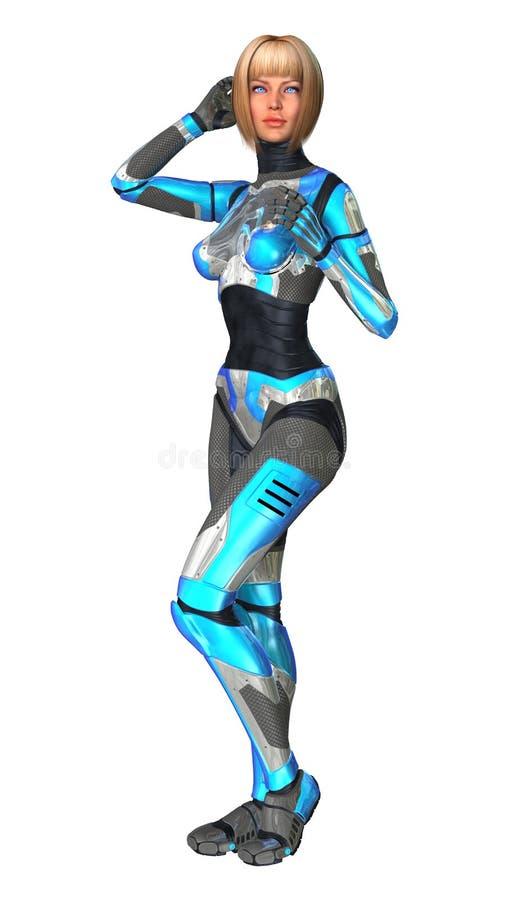 Kvinnlig Cyborg på vit arkivbilder
