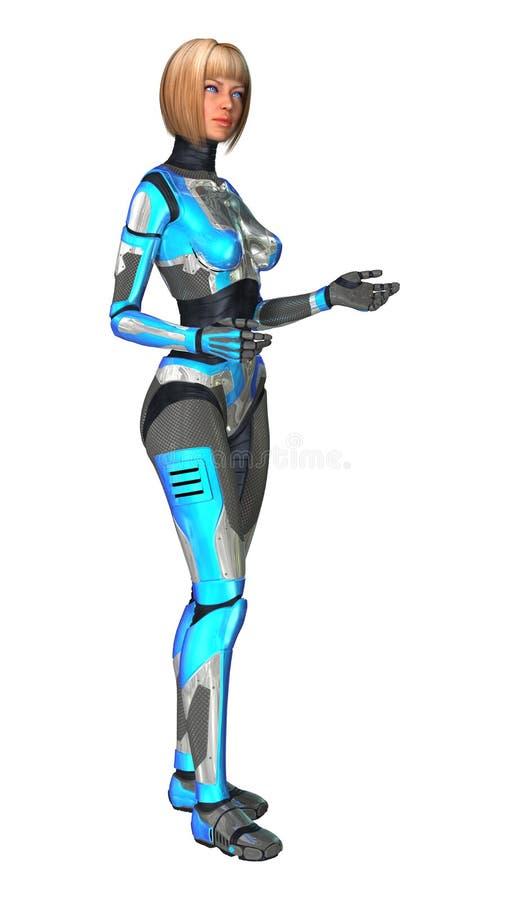 Kvinnlig Cyborg på vit fotografering för bildbyråer
