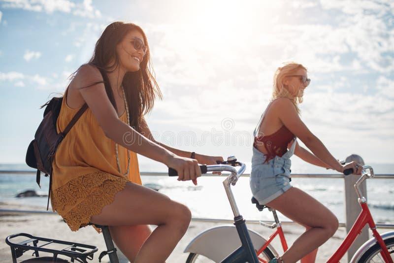 Kvinnlig cyklistridning längs promenaden fotografering för bildbyråer