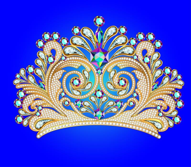 Kvinnlig dekorativ tiarakrona med juvlar vektor illustrationer