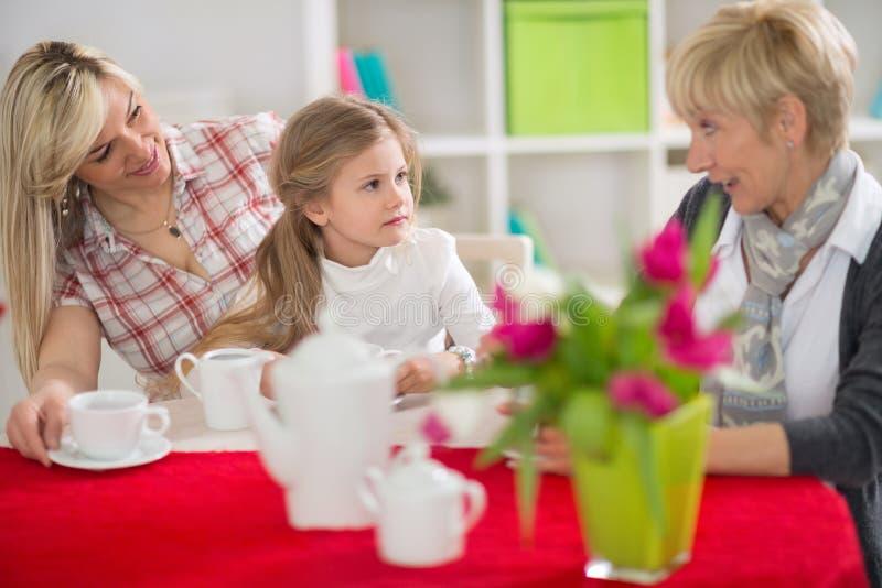 Kvinnlig del av familjen som pratar med kopp te fotografering för bildbyråer