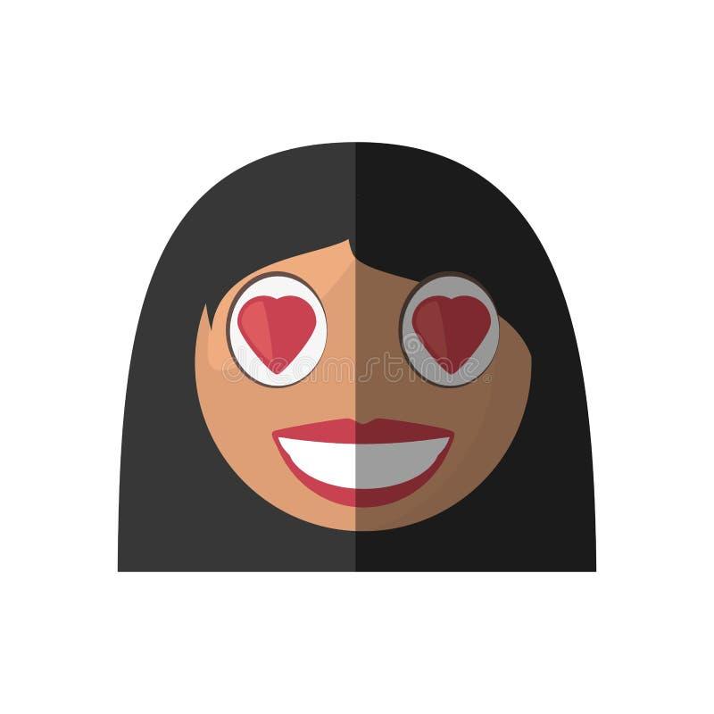 kvinnlig design för förälskelseemoticontecknad film stock illustrationer