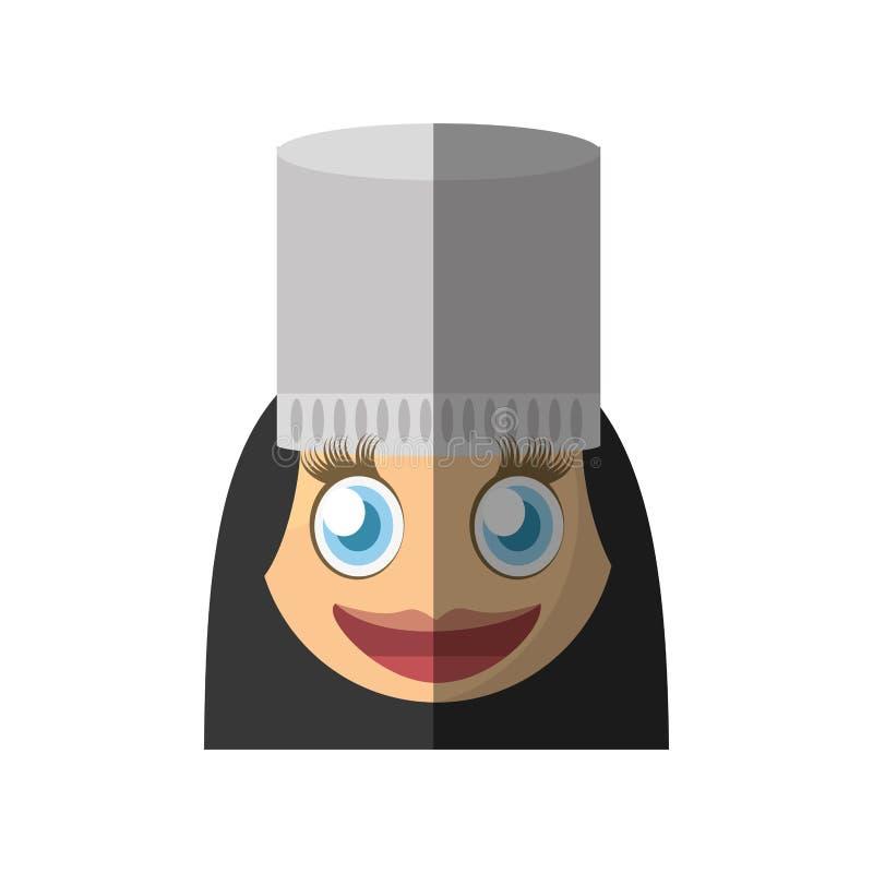 kvinnlig design för kockemoticontecknad film royaltyfri illustrationer